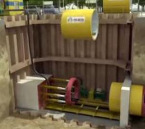 Микротоннелирование в условиях плотной городской инфраструктуры (анимация)